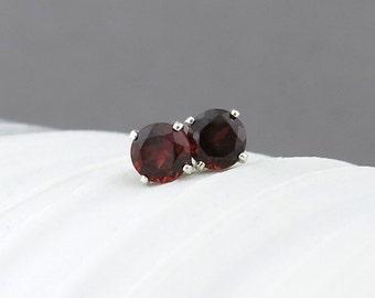 Garnet Earrings Tiny Silver Earrings Garnet Stud Earrings Red Earrings Sterling Silver Jewelry Post Earring 4mm January Birthstone Jewelry