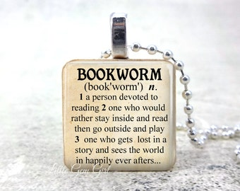 Necklace for Book Lover - Bookworm Dictionary Definition Wood Pendant - Librarian Book Club Teacher Jewelry