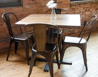 Small Dining Table With Reclaimed Wood Top And Steel Pedestal Base. Choose  Size And Finish