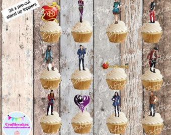 24 x Pre Cut Edible Descendants 2 Stand Up Cupcake Toppers
