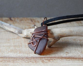Sea Glass Necklace, Seaglass Pendant, Wire Wrap Sea Beach Glass, Ocean Jewelry, Beach Necklace, Brown, Gift Mom Friend Sister