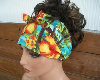 Womens Headband Fabric Headband Summer Fashion Accessories Women Headscarf Yoga Headband in Aqua blue with Hibiscus Flower print