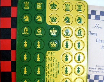 vintage travel game unused 1942 two-sided chess - checkers  board and playing pieces