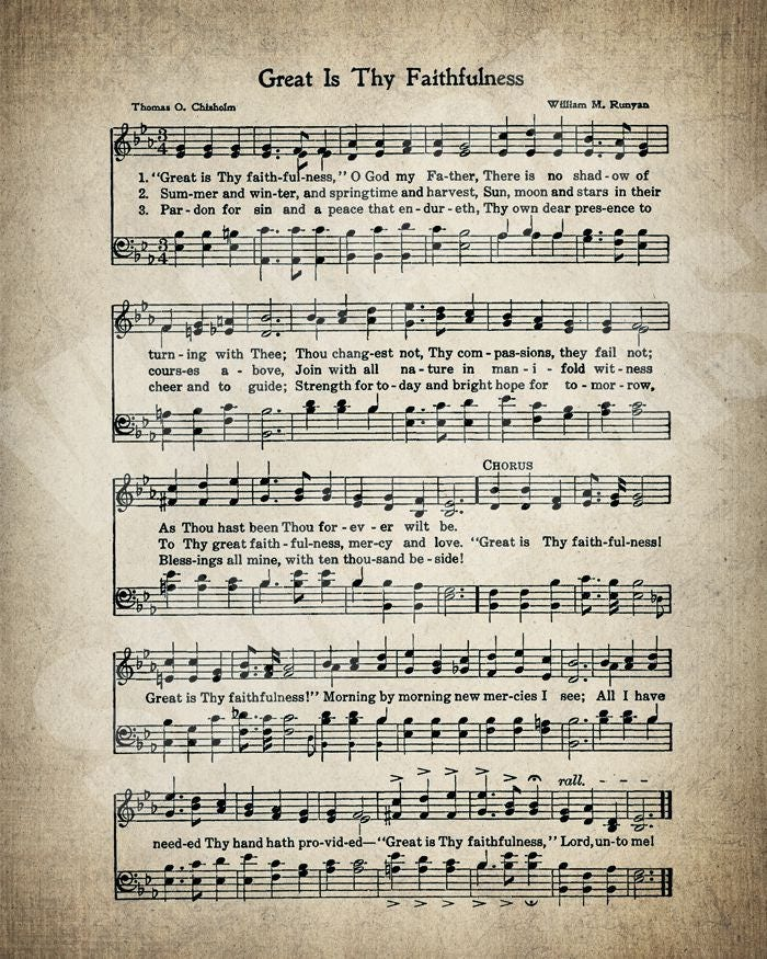 Great Is Thy Faithfulness Hymn Lyrics Sheet Music Art Hymn