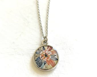 Zinnia Flower | Silver Flower Necklace | Zinnia Flower Art Jewelry | Silver Necklace | Zinnia Pendant