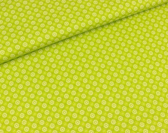 Cotton fabric small mini flowers white on light green (9.40 EUR/meter)