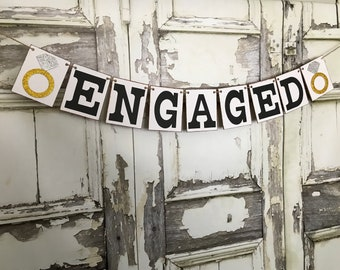 Engagement Banner, Engaged Sign, Engagement Party Decor, Engaged Party Ideas, Rustic Banner