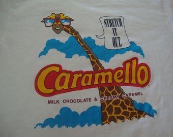 Vintage 80's Carmello Chocolate and Carmel Candy Giraffe T Shirt Youth Kids Size Xl 14-16