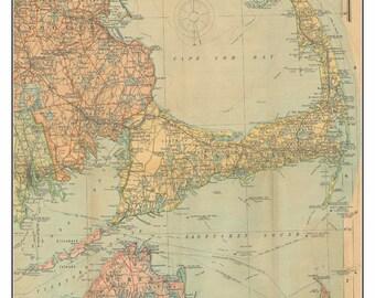 Cape Cod and The Islands 1903 - Scarborough - Roads and Railroads Reprint