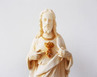 French Antique Statue Jesus Chalk ware Statue Gilded Statue of Jesus Christ Sacred Heart Signed