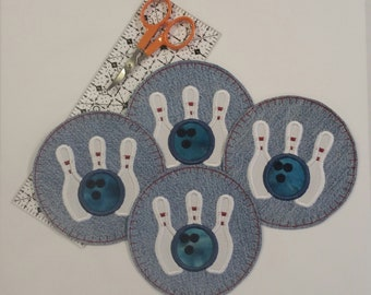 Bowling Coasters, Denim Coasters, Bowling Gift, Desk Coasters, Friend Gift, Fabric Coasters, Embroidered Coasters, Bowling,