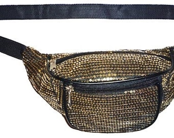 Gold Sequin Black Fabric Sequin Fanny Pack