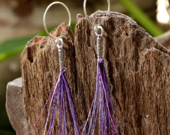 Purple cotton dangle earrings
