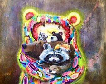 Cute Animal Print - Fine Art Print -  Nature Art - Raccoon - Bear - Fox - Otter - Tiger - Surrealism - Pop Surrealism - Art - Painting