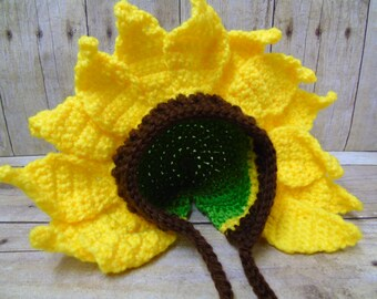 Newborn Sunflower Hat, Baby Sunflower, Sunflower Crochet, Sunflower Hat, Newborn Photograpy Prop, Newborn Flower Hat, Coming Home Outfit