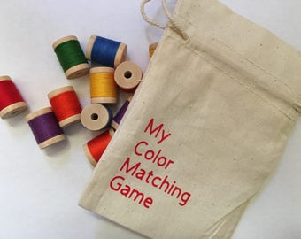 Montessori Inspired Color Matching Spool Game, Wooden Color Matching Game