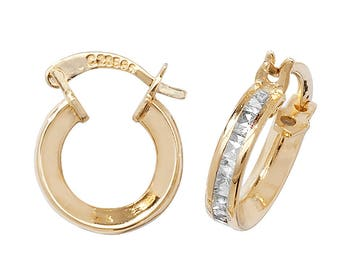 9ct Yellow Gold 8mm Princess Cut Cz Hoop Earrings Hallmarked