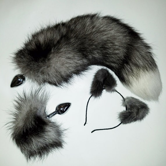 18'' natural indigo fox tail with matching cosplay set! grey head