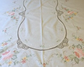 1950's Charming Oblong Hand Embroidered And Crochet Tablecloth.
