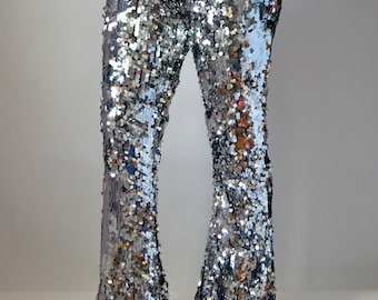 Silver Sequin Wide Flare Pants