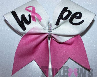 HOPE Pink Ribbon  Cancer Awareness Glitter Cheer bow by FunBows !