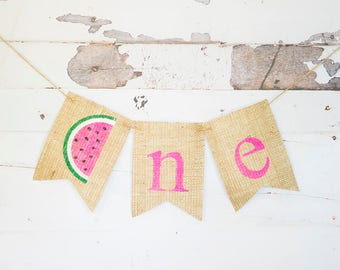 1st Birthday Party Decor, Watemelon Party Decoration, Watermelon 1st Birthday Banner, Watermelon Highchair Banner, B615
