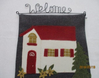 wool appliqued wall hanging