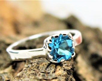 925 Sterling Silver Blue Topaz Gemstone Ring For Women, Natural Blue Topaz Gemstone Fine Ring Available with all sizes