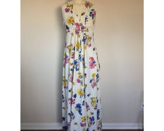 Womens White Floral A Line Sleeveless Dress