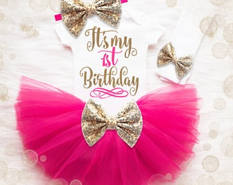 Baby Girl 1st Birthday Outfit | It's My 1st Birthday Girl Outfit | Cake Smash Outfit | Pink And Gold 1st Birthday Tutu Set | Baby Girl Shirt