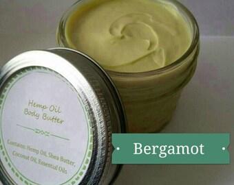 Hemp Seed Oil Body Butter, whipped hemp oil, vegan lotion, whipped shea butter, Bergamot