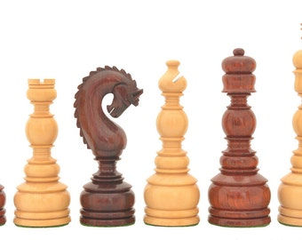 """The Luxury Handcrafted Tower Series Chess Pieces in Bud Rose / Box Wood - 5"""" King. SKU: VJ088"""