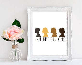 Diversity print, Diversity Art, equality poster, We Are All One, Diversity Poster, Motivational Wall Art, equality poster, Minimal Wall Art.