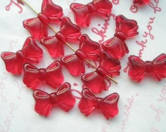 Transparent plastic Bow beads 20pcs  RED