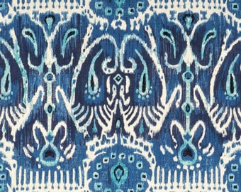 """Ikat Duralee Cerva Pillow Cover in Navy - 20""""x20"""" - SAME Fabric BOTH Sides - Invisible Zipper"""