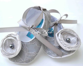 Grey Lace Vintage Baby Shoes Ballerina Slippers