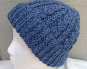 Knitted blue beanie - Cable wool blend hat - Womens knit beanie - Teens accessories