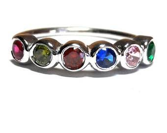 Birthstone Mothers Ring-Birthstone Ring-Mothers Ring-Family Ring-Personalized Birthstone Ring-925K Silver Birthstone Ring