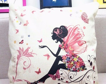Butterflies and Fairy Cushion/Pillow Cover-Home Decor, throw pillow cover fits IKEA (50 x 50cm)