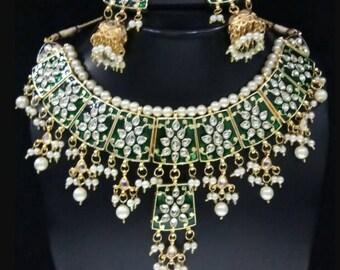 Kundan Meenakari Necklace,Indian Kundan Necklace Set W Earrings, Indian Bridal Jewelry,Bollywood,Statement Necklace,Polki, Enamel paint work