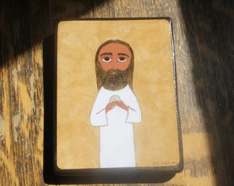 4 X 6 ish inch the institution of the Eucharist byzantine/folk icon on wood