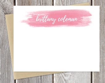 Watercolor Personalized Stationery - Custom Color -  Just Because Stationary - Greeting Cards