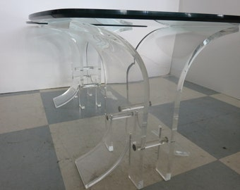 Pair Of Mid-Century Modern Lucite And Glass Top End Tables, In The Manner Of: Charles Hollis Jones.
