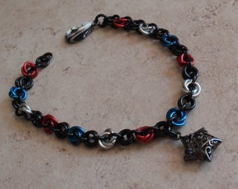 Chain Maille Bracelet Red White and Blue Patriotic Colors Mobius Birds Nest Hand Made Artisan