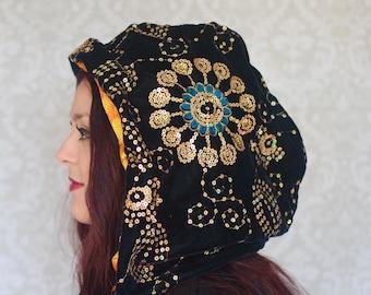 Reversable Hood Black Velvet and Gold Sequin and Burnt Orange and Golden, Festival Hood.