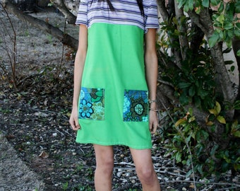 A Line Green Tunic Mini Dress Great Big Pockets Green Purple Dress Floral Vintage Repurposed Fabrics Boho Chic
