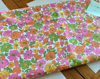 Cotton Print Fabric, 4 yards and 36 inches wide, Pink, Green Yellow White Orange