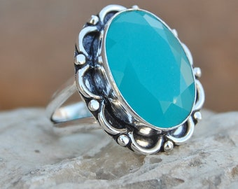 Chalcedony Ring, Oval faceted aqua chalcedony sterling silver ring, chalcedony Solid silver ring Jewelry