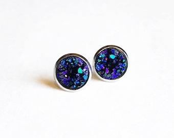 HYPOALLERGENIC EARRINGS Faux Druzy Earrings 10mm MEDIUM Stud Earrings Surgical Stainless Steel - Purple Blue, Clothing Gift