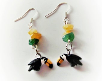 Toucan Bird Dangle Earrings with Gemstone Chips, Citrine Chips, Aventurine Chips, Exotic Bird Jewelry, Multi-Colored Jewelry